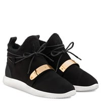 Giuseppe Zanotti Gz Hayden Winter Black Suede Sneaker With Faux-fur