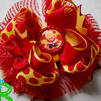 Anger  hair bow ,Inside out  Boutique hair bow , lyered bow , stacked bow , inside out ott bow