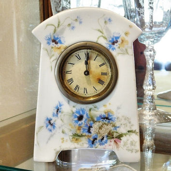 Antique Porcelain Clock 1800s Victorian Boudoir Vanity Alarm Clock China Case Clock Transferware Flowers Floral Windup Wind Up Clock