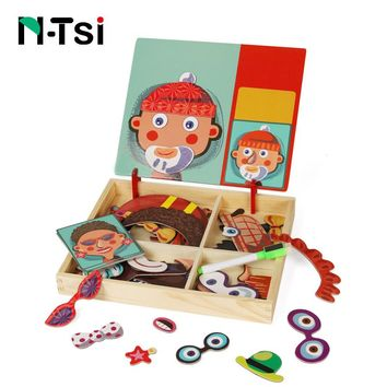 N-Tsi Wooden Kids Educational Toys Magnetic Puzzles Game Set Easel Dry Erase Board Fun Reusable Stickers for Children Gift