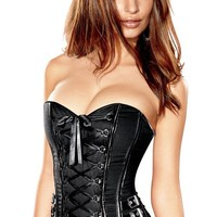 Frederick's of Hollywood Biker Girl Corset Womens-XL BLACK