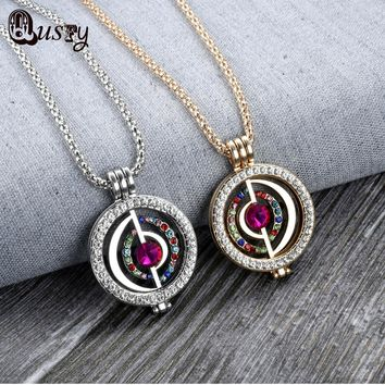 Multicolor Rhinestone Crystal Pendant Coin set with Chain My Coins Necklace 33mm Disc Fit new Design Globe Shape NA