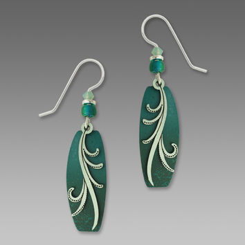 Adajio Earrings - Teal and Turquoise with Silver Sage Tendrils