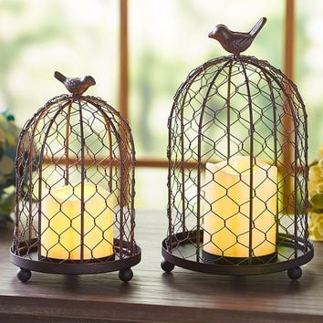 Rustic Chicken-wire Birdcage Cloche w/LED Candle Farmhouse Country Home Decor