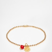 Mirabelle Gold Plated Ball Chain Bracelet With Coral
