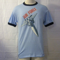 Vintage Rare 70s AIR FORCE RINGER Plane Jet Military Graphic Soft Unisex Small 50/50 T-Shirt