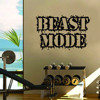 Beast Mode Gym Fitness Quote Weights Health Design Decal Sticker Wall Vinyl Art Decor Home