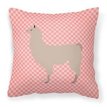 Llama Pink Check Fabric Decorative Pillow BB7916PW1818