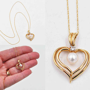 Vintage 14K Yellow Gold, White Pearl & Diamond Heart Pendant Necklace, Double Open Heart, 3D, Wedding, Fine Gift, Superb! #c389