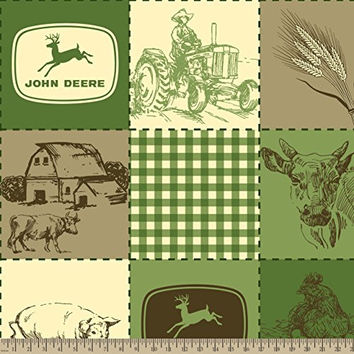 John Deere Vintage Quilted Scenes Fleece Fabric by The Yard
