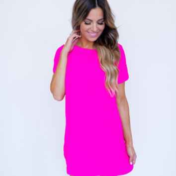 Shift Dress- Fuchsia