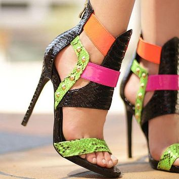 Patchwork Hollow Out Stiletto Heel Peep-toe Zipper High Heel Sandals