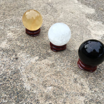 Awesome Three Crystal Spheres! Citrine Calcite, Clear Quartz and Black Obsidian Natural Healing Crystals/ FREE Bag & Msg Card