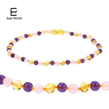 EAST WORLD 6 Design Amber Necklace Jewelry with Natural Rose Quartz Amethyst Gemstone Knotted Baltic Amber Bijoux for Baby Women