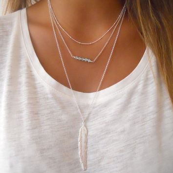 Shiny Gift Jewelry New Arrival Stylish Trendy Vintage Simple Design Crystal Metal Feather Tassels Necklace [7271828743]