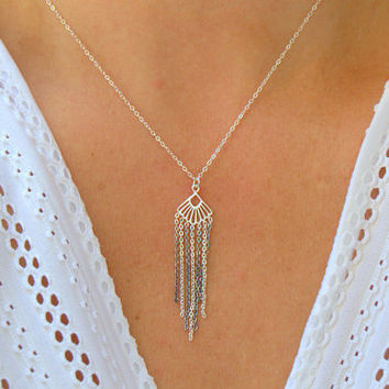 sterling silver small tassel necklace, silver multi chain necklace, bohemian style, everyday minimalist necklace, simple silver necklace