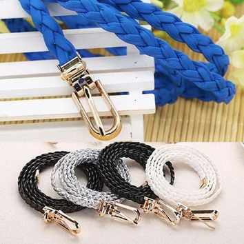 PEAPU3C Bluelans Women Braided PU Leather Narrow Thin Buckle Strap Waist Belt All-Match Waistband