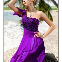 Beading Chiffon A-Line One-Shoulder Tea Length Purple Cocktail Dress WNP0117