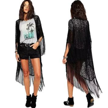 Women Summer Coat Lace Hollow Floral Casual Tassel Long Kimono Shawl Cardigan