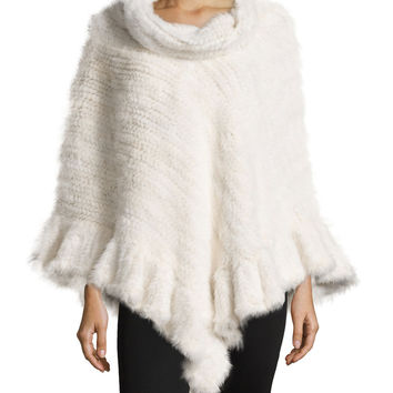 Knit Mink Fur Poncho w/Roll Collar, White, Size: ONE SIZE, WHITE - La Fiorentina