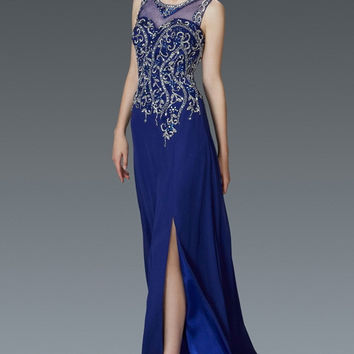 G2118 V Neck Beaded Prom Dress or Evening Gown