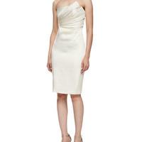 Strapless Dress with Asymmetric Pleated Bodice, Pearl