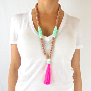 Boho Tassel Necklace - White, Aqua with Neon Dark Pink Tassel