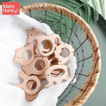 mamihome 1pc Wooden Teether Wood Pendant For Pacifier Chain Teething Toys Cute Animal Shape Food Grade Materials Baby Teethers