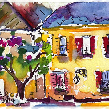 Yellow House Charleston South Carolina Original ACEO Painting by Ginette Callaway  Watercolor and Ink