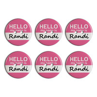 Randi Hello My Name Is Plastic Resin Button Set of 6