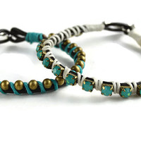 Two Single Jewel/Chain Wrap Bracelets, Stackable Bracelets, Bracelet Bundle, Turquoise Jewels and Brass Ball Chain Bracelet