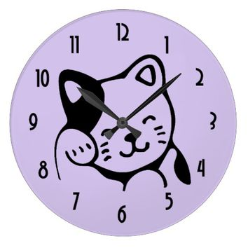 Cute Black and White Kitty Cat Waving Hello Large Clock