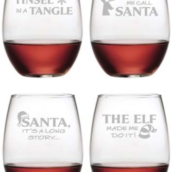 Holiday Hijinks Stemless Wine Glass - Set of 4