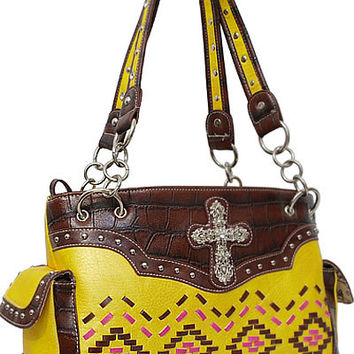 Aztec Cross Leather Designer Fashion Bling Western Stitch Rhinestone Stud Trendy Purse Handbag Pink Brown Yellow
