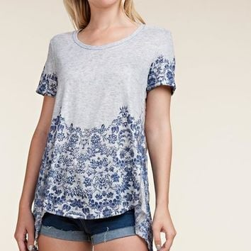 Vocal Vintage Sublimation Back Lace Top - Heather Gray Blue