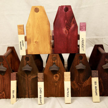 Handcrafted Wooden Six Pack Beer Carrier Grooms Wedding Gift or Father's Day