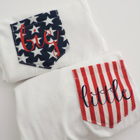 American Flag Stars & Stripe Pocket Tee T-shirt Set of 2 // Mr. and Mrs. // Big and Little // Custom Text // All Sizes