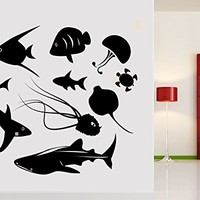 Wall Decal Fish Jellyfish Sea Turtle Ocean Vinyl Sticker Decals Nautical Decor Bathroom Home Decor Design Interior NS1045