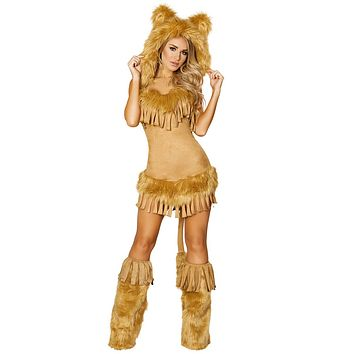 Sexy Inception Lion Queen Hooded Faux Fur Dress