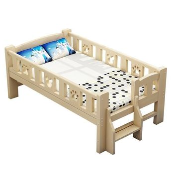 Children's wooden guardrail boy single girl princess cot crib bedside bed stitching
