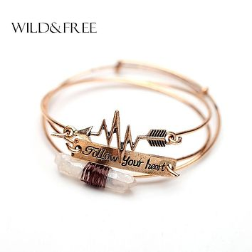 3PCS Handmade Alloy Cuff Bangles Set Vintage Natural Stone Arrow Follow Your Heart