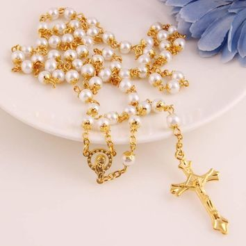 New Arrival Stylish Shiny Jewelry Gift Pearls Fashion Accessory Cross Rack Necklace [47756115980]