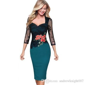 Women Floral Embroidered Translucent Lace Sleeve Dress Party Bridesmaid Wear Club Bodycon Sheath Pencil Dress S-5XL Red Green Purple DK010MF