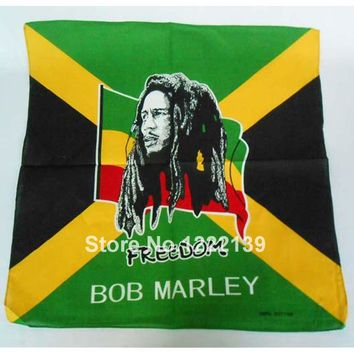 12pcs/lot Fashion Hip-hop BOB MARLEY Rasta Bandanas For Unisex Cotton Square Headband Scarf Scarves Headkerchief Head Wrap