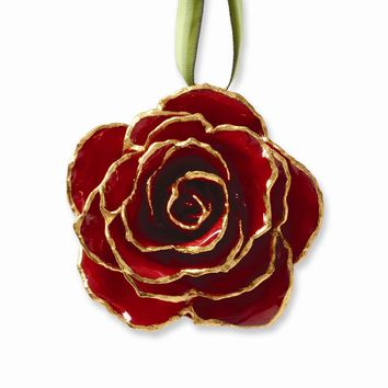 Lacquer Dipped 24k Gold Trim Red Decorative Rose