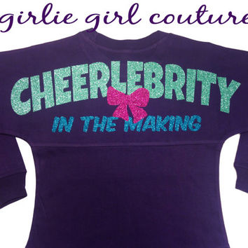 "Glitter ""Cheerlebrity in the Making"" Spirit Jersey - Includes Custom Glitter Monogram - Perfect for any Cheerleader"