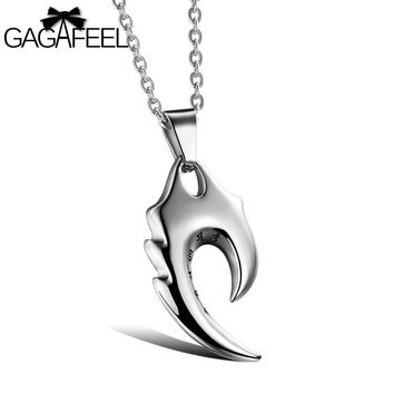 GAGAFEEL Men Necklace Charm Punk Pendants With Six words Cool Men Jewelry Titanium Stainless Steel Chain Necklaces Gifts ON945