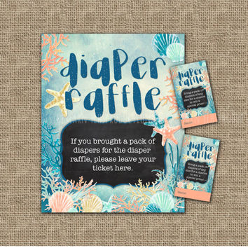 Under the Sea Party Diaper Raffle Sign Printable, Nautical Beach Seashells Theme Baby Shower, Sea Mermaid Party, Coral Mint Gold Invitation