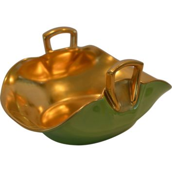 Wonderful Candy Dish ~ Hand Painted with Green and Gold by Pickard Studios Chicago IL 1930-1938