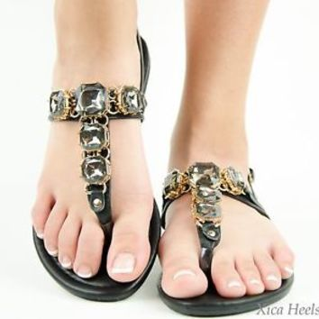 New Womens Sandals Gladiator Thong T Strap Faux Jeweled Flat Slingback Black